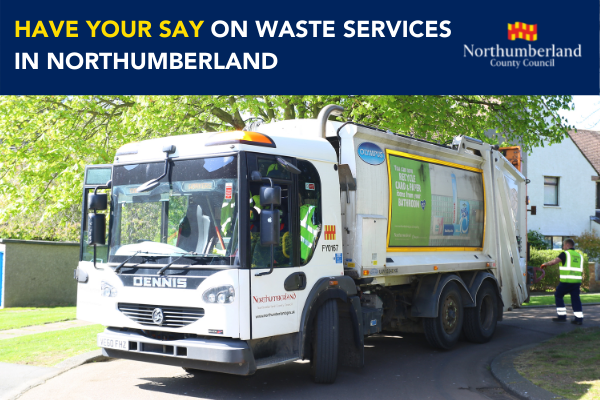 Bin lorry with text