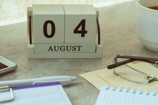 Calendar showing 4 August