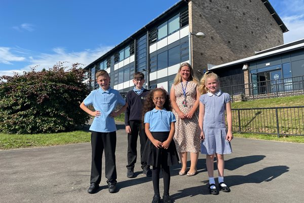 Headteacher and pupils at Haltwhistle Primary Academy