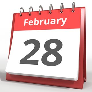 Photo of calendar showing 28 February