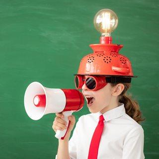 School child with megaphone