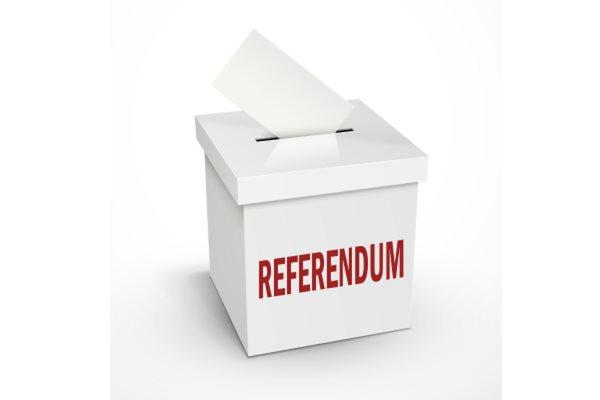 Ballot box with referendum written on it