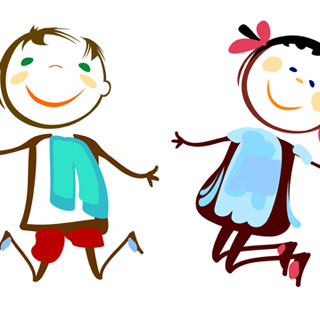 sketch of happy children