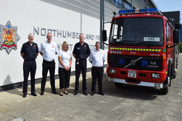 Image demonstrating Northumberland fire service donate appliance to firefighting charity