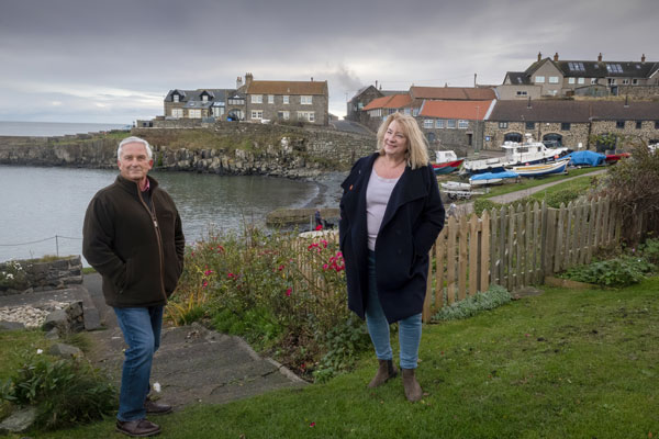 Councillors Glen Sanderson and Wendy Pattison at Craster