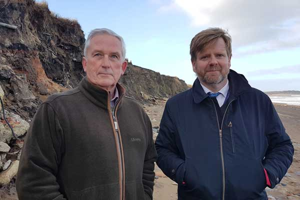 Councillors Glen Sanderson and Nick Oliver in Lynemouth