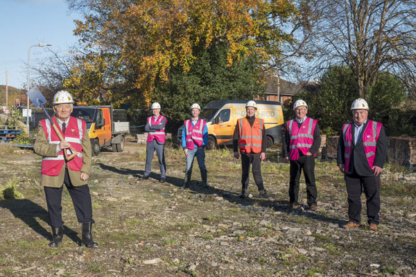 Councillors and contractors on the site of the new leisure centre