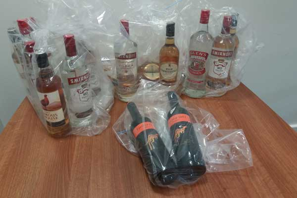 Bottles of illegal alcohol