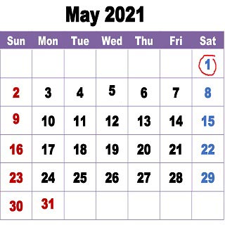 Calendar showing May 2021