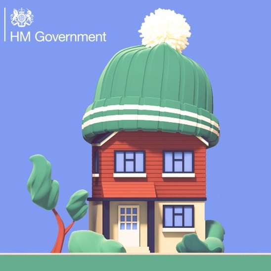 Green homes fund - A house with a wooly hat on it's head