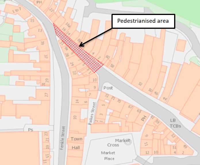 Graphic showing the pedestrianised area of Narrowgate street