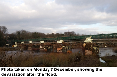 Ovingham bridge after flooding
