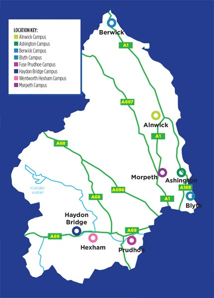 Map of the campuses around Northumberland