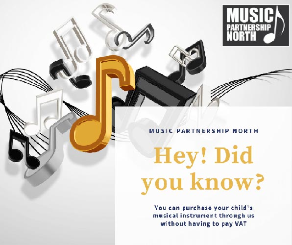 Various musical notes. Text says Hey! Did you know? You can purchase your child's musical instrument through us without having to pay VAT